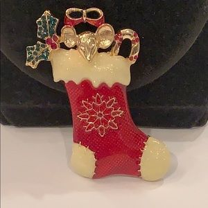 Mouse bow holly in a Christmas stocking pin